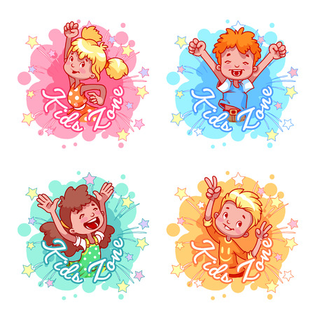 Set of four Kids Zone with very happy children. Four stickers in the form of blots in pastel colors. label template on a white background.