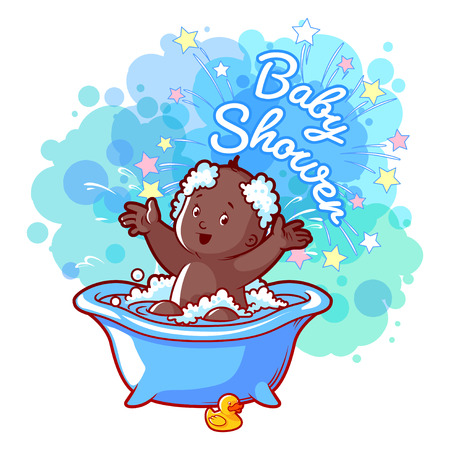 african american infant: Baby Shower card with cute african american baby boy in bath. Happy toddler splashing water. Vector cartoon greeting card. Illustration