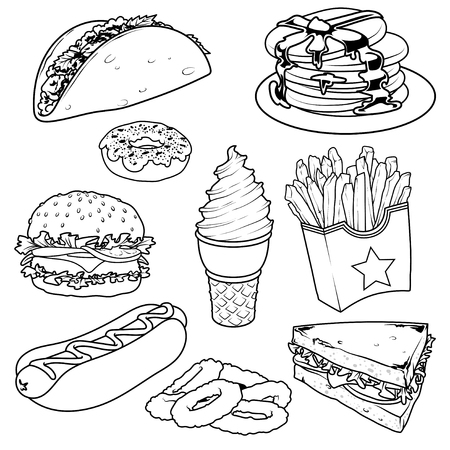 onion rings: Set of cartoon fast-food icons. Vector icons set  on a white background. Tacos, pancake, donuts, french fries, hamburger, hot-dog, glass of cola, sandwich and onion rings.