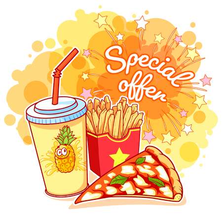 Special Offer with pineapple juice, a slice of pizza and french fries. Delicious fast-food on the bright yellow colorful background. Vector cartoon illustration. Illustration