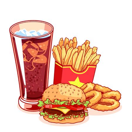 Fast-food: glas cola, patat, hamburger en uienringen. Heerlijk eten die op de witte achtergrond. Vector cartoon illustratie. Vector Illustratie