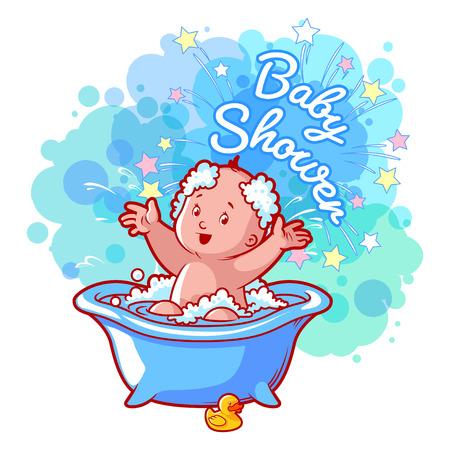 boy bath: Baby Shower card with cute baby boy in bath. Happy toddler splashing water. Vector cartoon greeting card. Illustration