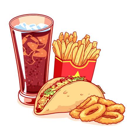 onion rings: Fast-food: glass of cola, french fries, tacos and onion rings. Delicious food isolated on the white background. Vector cartoon illustration.