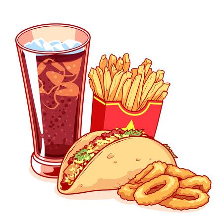 Fast-food: vidrio de cola, patatas fritas, tacos y aros de cebolla. La comida es deliciosa aislada en el fondo blanco. Vector ilustración de dibujos animados.