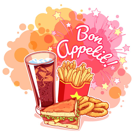onion rings: Poster with glass of cola, french fries, sandwich, onion rings and inscription Bon Appetit!. Delicious fast-food on the bright pink background. Vector cartoon illustration.