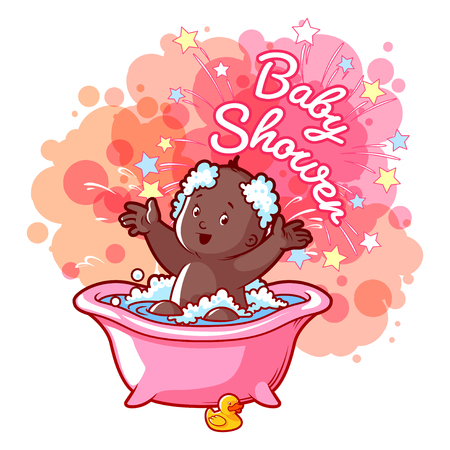 little girl bath: Baby Shower card with cute african american girl in bath. Happy toddler splashing water. Vector cartoon greeting card.