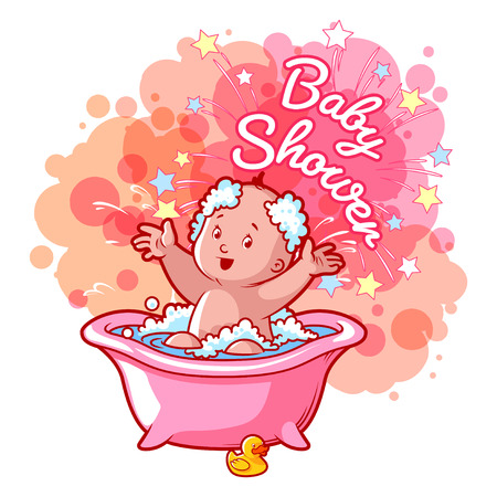 bathroom cartoon: Baby Shower card with cute baby girl in bath. Happy toddler splashing water. Vector cartoon greeting card.