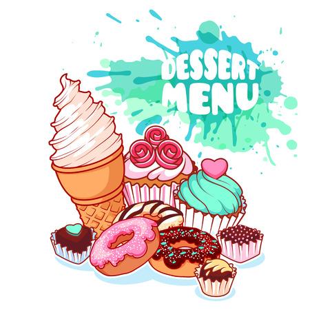 postre: carta de postres con diferentes dulces: helados, donas, dulces de chocolate y magdalenas. La comida es deliciosa sobre fondo claro con manchas de acuarela. Vector ilustración de dibujos animados.