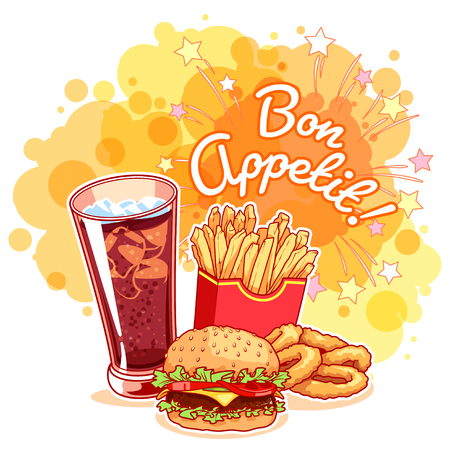 "Poster with glass of cola, french fries, hamburger, onion rings and inscription ""Bon Appetit!"". Delicious fast-food on the bright yellow background. Vector cartoon illustration."