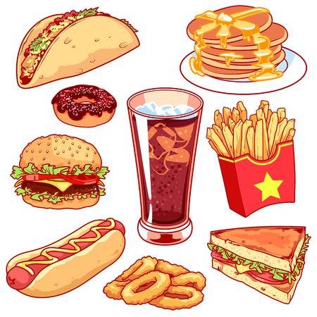 Set van cartoon fast-food pictogrammen. Vector pictogrammen instellen op een witte achtergrond. Taco's, pannenkoeken, donuts, frieten, hamburger, hot-dog, glas cola, sandwich en uienringen.