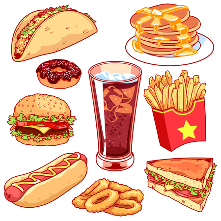 Set of cartoon fast-food icons. Vector icons set  on a white background. Tacos, pancake, donuts, french fries, hamburger, hot-dog, glass of cola, sandwich and onion rings.