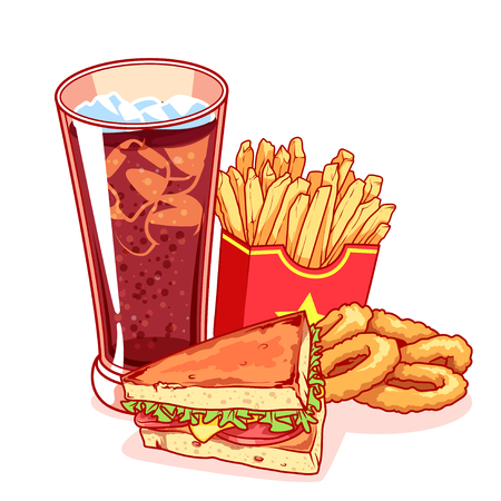 onion rings: Fast-food: glass of cola, french fries, sandwich and onion rings. Delicious food isolated white background. Vector cartoon illustration.