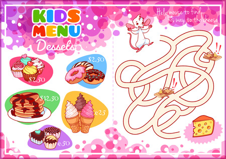 horizontal orientation: Kids Menu for desserts with maze game. Cupcakes, pancakes, donuts, ice cream and chocolate candies. Template menu A4 size horizontal orientation.