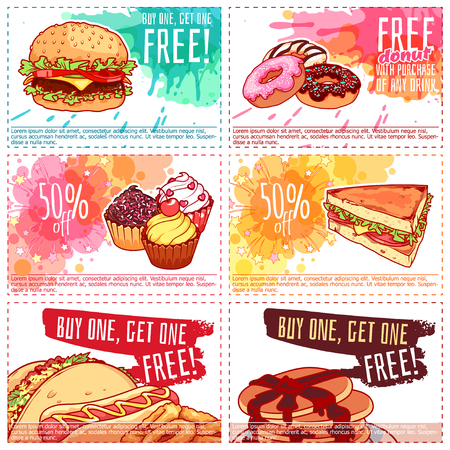 Six different discount coupons for fast-food or dessert. Vector template discount voucher isolated on a white background. Stock Illustratie