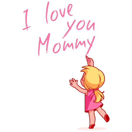 child girl: Girl writing on the wall I love you Mommy. Design element for mothers day card. Vector illustration on a white background.
