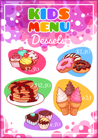 Kids Menu for different desserts. Cupcakes, pancakes, donuts, ice cream and chocolate candies. Template menu A4 size vertical orientation.