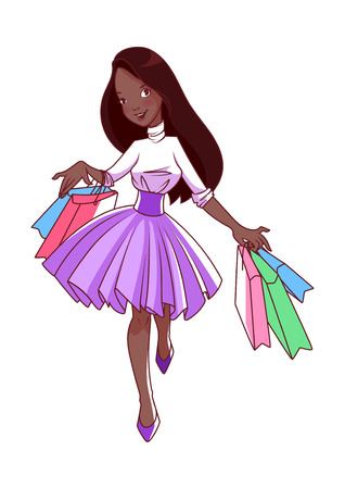 goes: Cheerful young African American girl goes shopping with bags in their hands. Cartoon vector character isolated on a white background.
