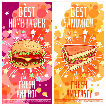 beef burger: Two vertical orientation flyers for fast food. Best burgers and best sandwiches. Vector template flayer isolated on a white background.