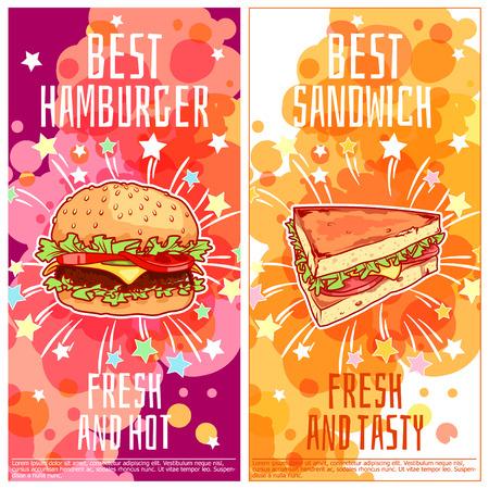 Twee verticale oriëntatie flyers voor fast food. Beste burgers en de beste broodjes. Vector template flayer geïsoleerd op een witte achtergrond.