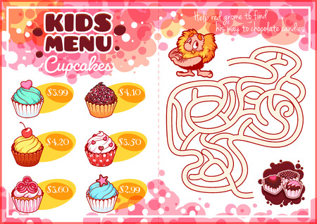 horizontal orientation: Kids Menu for cupcakes with maze game. Different sweet muffins. Template menu A4 size horizontal orientation.