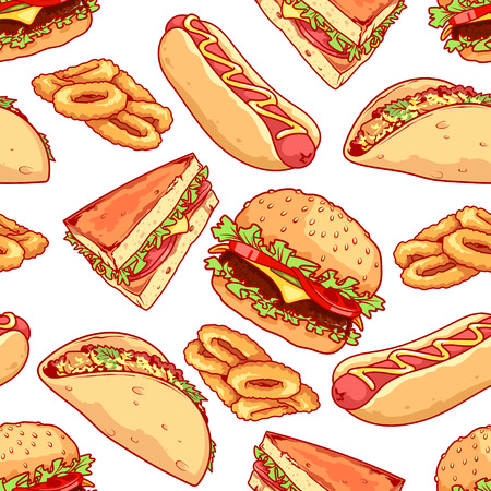 Seamless pattern of burgers, sandwiches, tacos, hot dogs and onion rings. Vector cartoon food background.