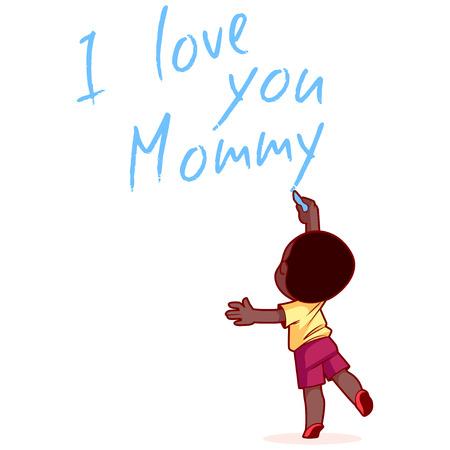 """chico estadounidense, escribir en la pared """"Te amo mamá"""". Elemento de diseño para la tarjeta del día de la madre. Ilustración del vector en un fondo blanco."""
