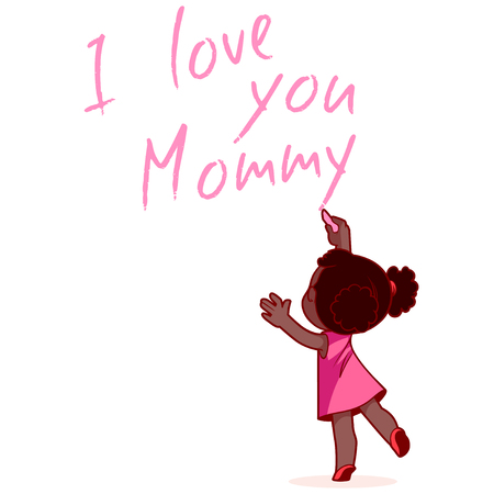 African American girl writing on the wall I love you Mommy. Design element for mothers day card. Vector illustration on a white background. Illustration