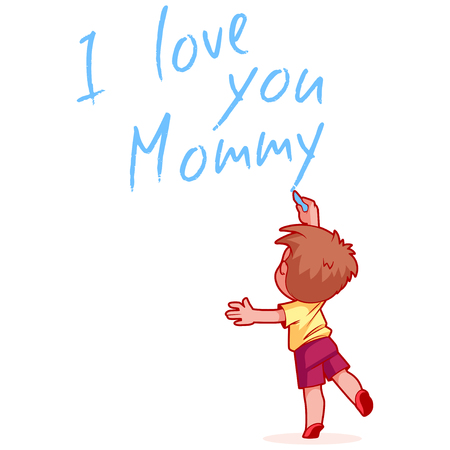 child standing: Boy writing on the wall I love you Mommy. Design element for mothers day card. Vector illustration on a white background.