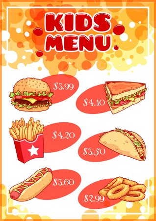 onion rings: Kids Menu for fast-food. Hamburger, hot-dog, sandwich, tacos, french fries and onion rings. Template menu A4 size vertical orientation.