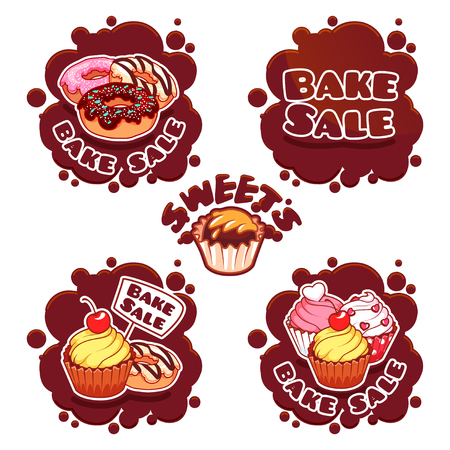 bake sale sign: Set of labels for bake sale in the form of chocolate spots. Illustration