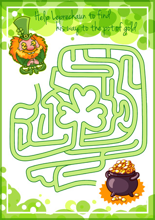 elf cartoon: Maze game for kids with gnome and pot of gold. Help red Leprechaun to find his way to the pot of gold. Vector cartoon template page with game.