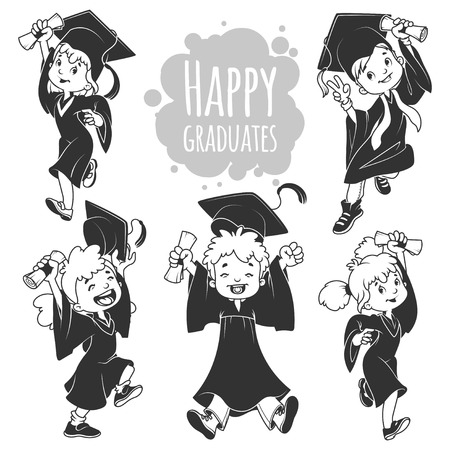 gowns: Very happy kids. Graduates in gowns and with a diploma in hand. Set of vector cartoon characters in black and white style isolated on white background. Illustration