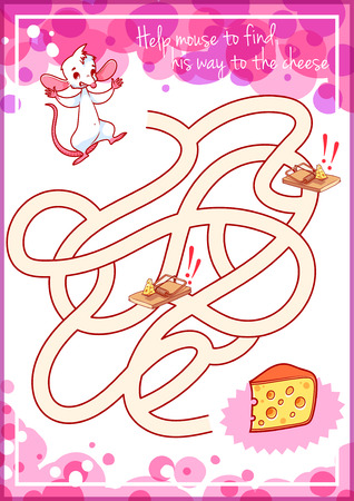 cheese cartoon: Maze game for kids with mouse and cheese. Help mouse to find his way to the cheese. Vector cartoon template page with game.