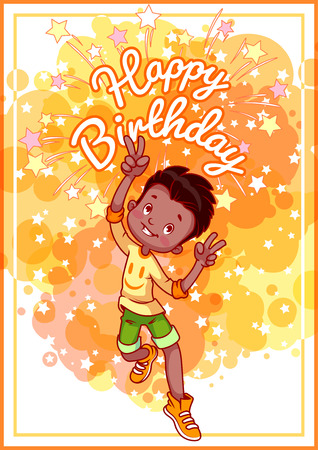 african boys: Greeting card birthday with a happy african american boy. Vector template postcard in yellow tones.
