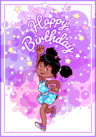 Greeting Birthday Card With A Happy African American Girl Vector