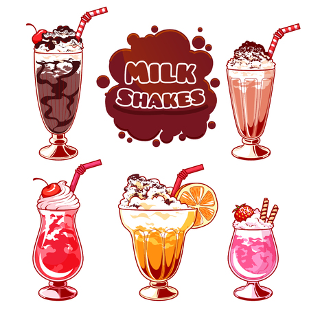 Set of different milkshakes. Chocolate milkshake, cherry milkshake, strawberry milkshake, vanilla milkshake and orange milkshake. Vector cartoon illustration isolated on a white background.