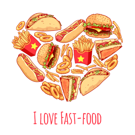 fastfood: Banner with different food in a heart shape with inscription I love fast-food. Vector template banner isolated on a white background.