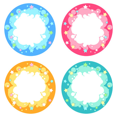 frame vector: Set of four round frame different colors with fireworks stars. Vector design element in cartoon style isolated on a white background. Illustration