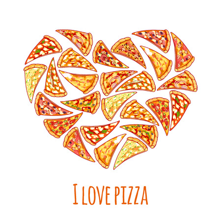 pizza: Banner with different pizza slices in a heart shape with inscription I love pizza.