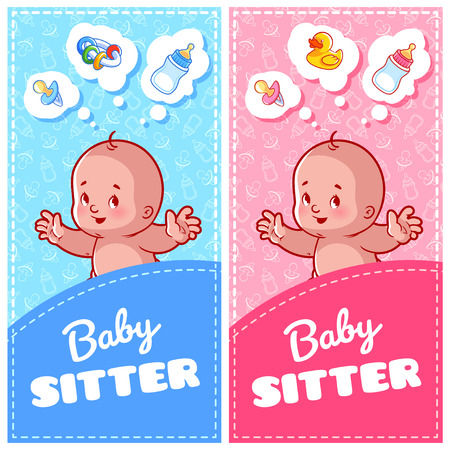 sitter: Two vertical flyer of babysitter with cute toddler and baby toys. Two vertical orientation banner template. Illustration
