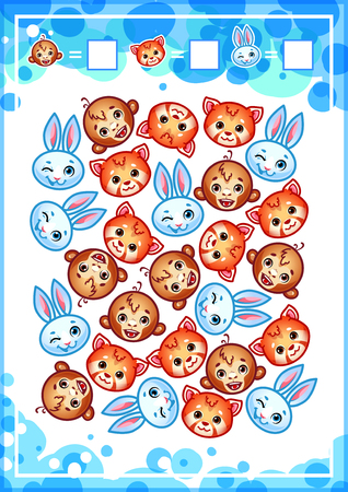 Education counting game for preschool kids with funny animals. How many hares, monkeys and red pandas do you see Cartoon illustration. Illustration