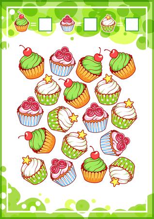 matematicas: juego de contar la educación para los niños en edad preescolar con diversos dulces. ¿Cuántas magdalenas, donuts y helado de hacer que vea la ilustración de dibujos animados.