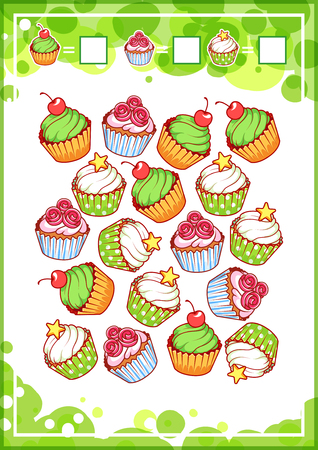 Education counting game for preschool kids with different sweets. How many cupcakes, donuts and ice cream do you see Cartoon illustration. Illustration