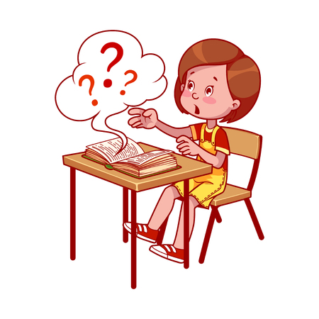 young schoolgirl: School girl at a school desk with book. Getting an education. Book with many questions. cartoon illustration isolated on a white background.