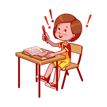 child sitting: Happy school girl at a school desk with book. Getting an education. cartoon illustration isolated on a white background. Illustration