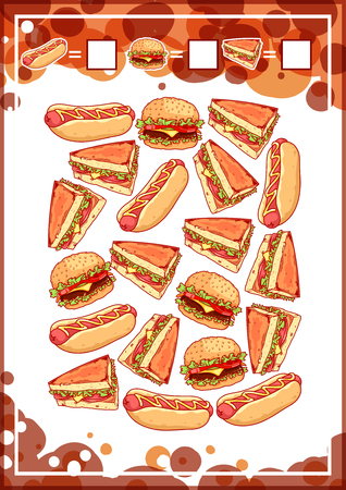 sausage dog: Education counting game for preschool kids with fast food. How many sandwiches, hamburgers, and hot-dogs do you see Cartoon illustration.