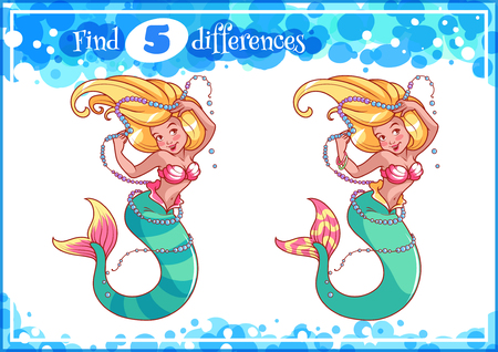 difference: Education game for preschool kids, find the differences. mermaid with a string of pearls. Cartoon illustration.