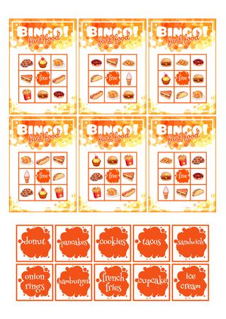juego de la educación para los niños en edad preescolar con la comida rápida. tarjetas. Ilustración de dibujos animados.