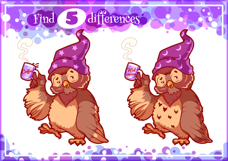 nightcap: Education game for preschool kids, find the differences. Woken owl in the nightcap. Cartoon illustration. Illustration