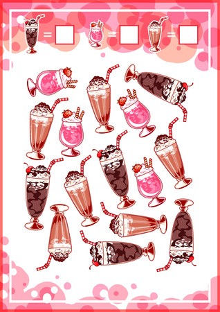 mental object: Education counting game for preschool kids with milkshakes. How many chocolate milkshakes, strawberry milkshakes, and vanilla milkshakes do you see Cartoon illustration.